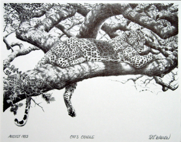 Cat's Cradle, stone lithograph by R.T. Wallen