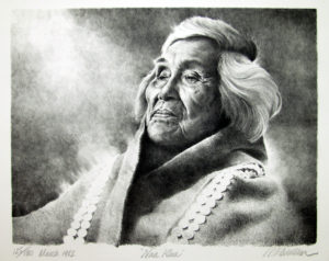 Naa Klaa, a portrait of a Tlingit woman, stone lithograph by R.T. Wallen