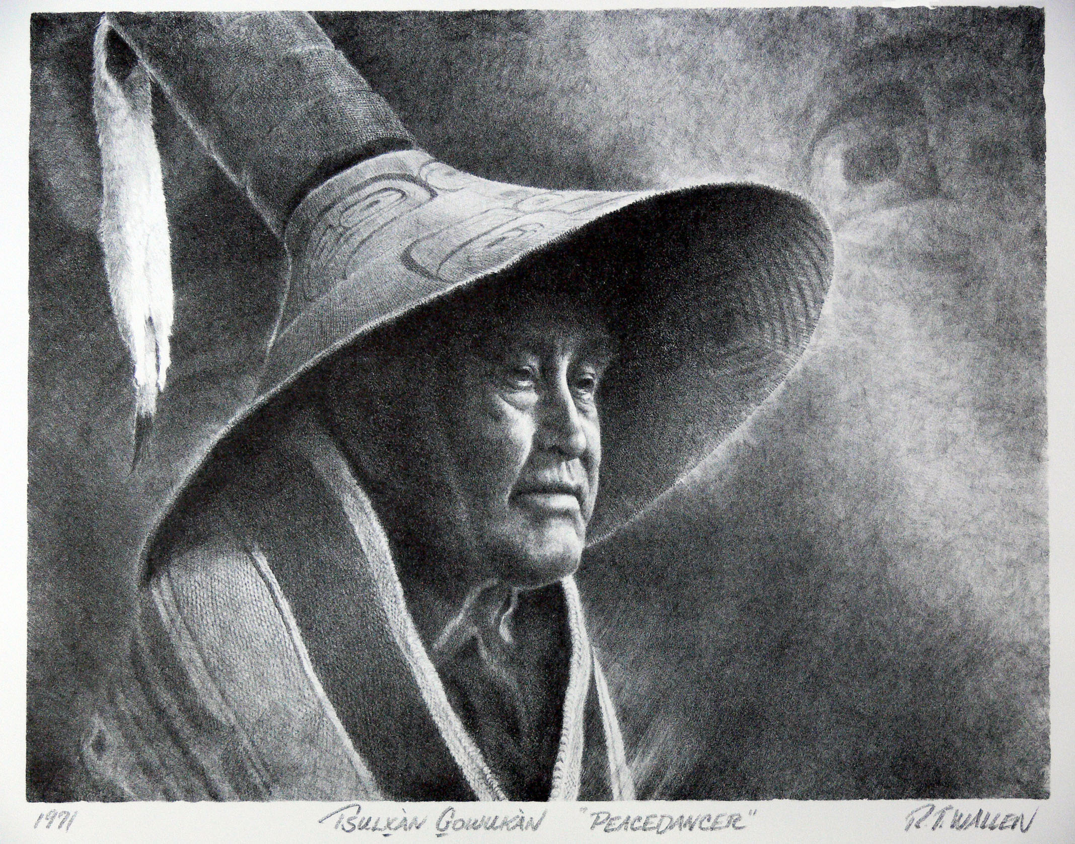 Peace dancer, a portrait of a Tlingit man, stone lithograph by R.T. Wallen