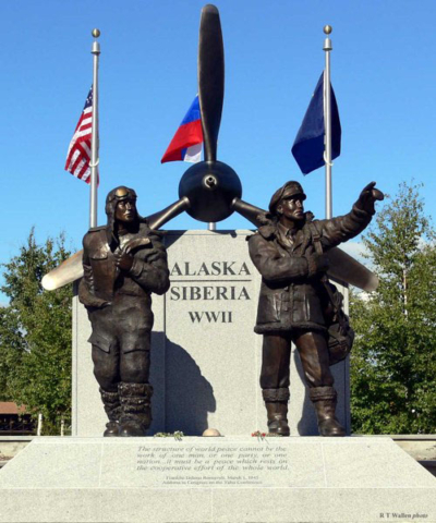 Alaska-Siberia WWII monument in Fairbanks, Alaska