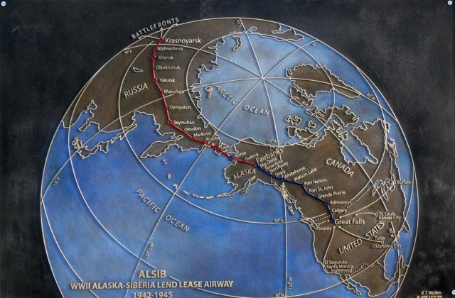 Bronze plaque designed by R.T. Wallen for the Alaska-Siberia WWII monument, Fairbanks, Alaska