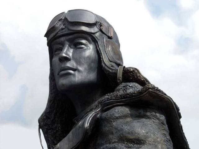 Detail of Russian pilot Alaska-Siberia WWII monument, Fairbanks, Alaska