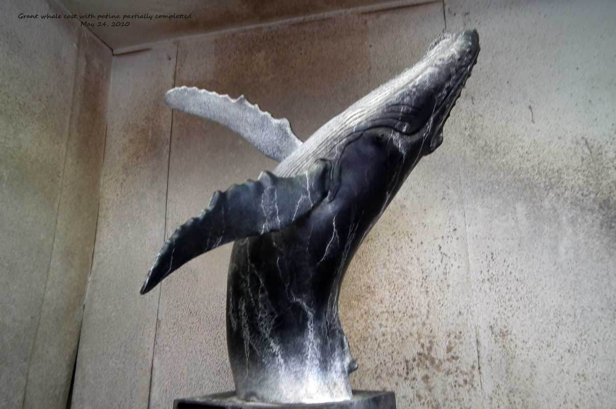 Maquette of whale cast in bronze, edition of 25 for Tahku, life-scale humpback whale, Juneau, Alaska